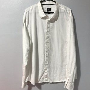 Armani Exchange Men's White Button-up Shirt XXL